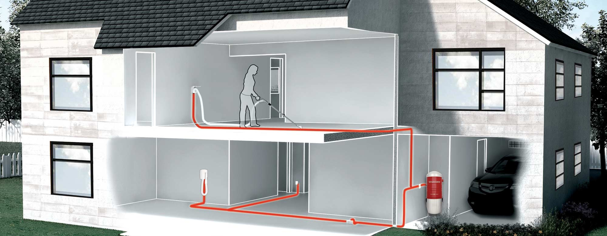 schema of the network of a central vacuum system installation in a house